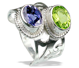 Design 8302: blue,green peridot estate rings