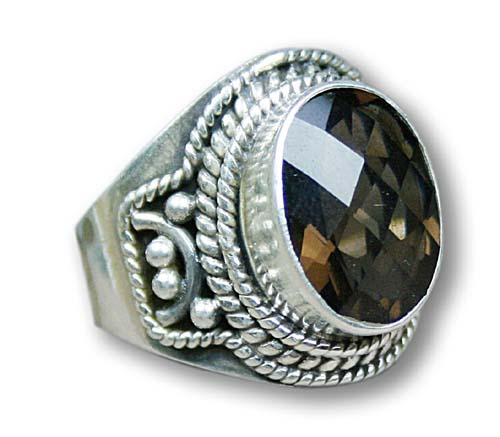 Design 8315: brown smoky quartz gothic-medieval, mens rings