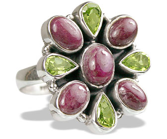 Design 8322: green,pink,red ruby flower rings