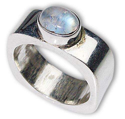 Design 8475: white moonstone art-deco rings