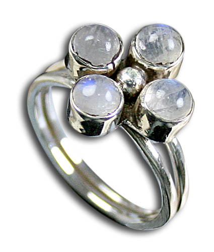 Design 8579: white moonstone flower rings