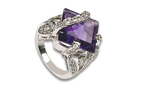 Design 8940: Purple, White amethyst solitaire rings