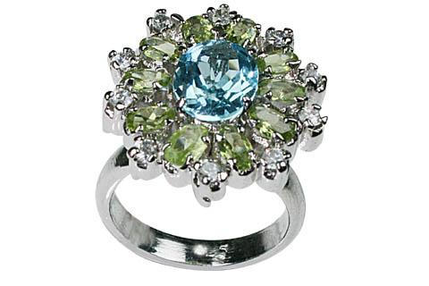 Design 8942: blue,green,white blue topaz flower, solitaire rings