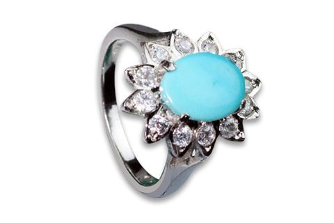 Design 8944: blue,white turquoise flower rings