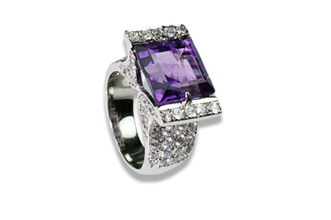 Design 8960: Purple, White amethyst solitaire rings