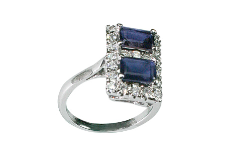 Design 8961: Blue, White iolite solitaire rings