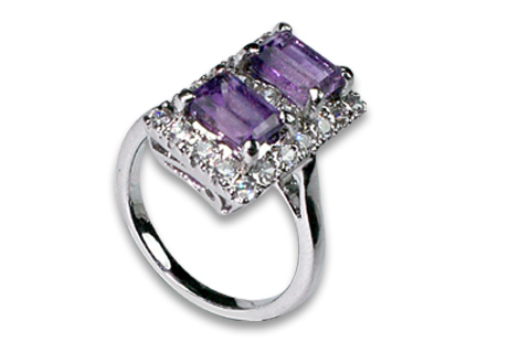 Design 8962: Purple, White amethyst contemporary rings