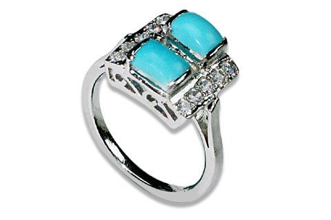 Design 8964: Blue, White turquoise solitaire rings