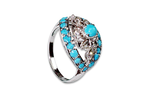 Design 8968: Blue, White turquoise rings