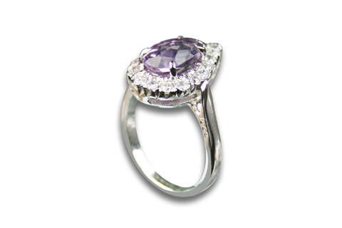 Design 8975: purple,white amethyst solitaire rings