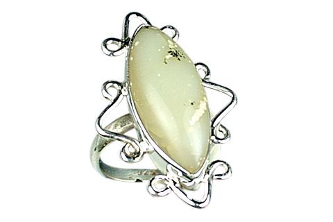 Design 9117: Grey, Green dendrite opal rings