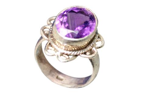 Design 9175: purple amethyst flower, solitaire rings