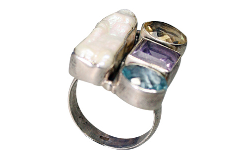 Design 9180: blue,purple,white mother-of-pearl contemporary rings