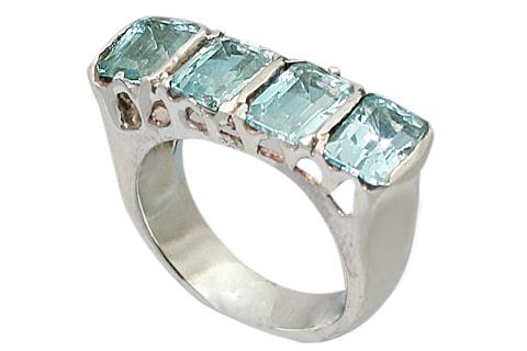 Design 9518: blue blue topaz art-deco rings