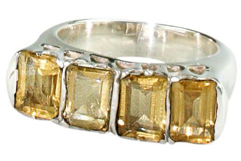 Design 9520: yellow citrine art-deco rings