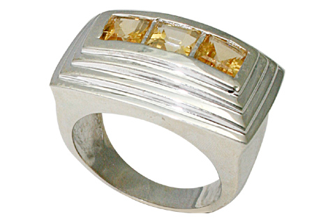 Design 9525: yellow citrine art-deco, mens rings