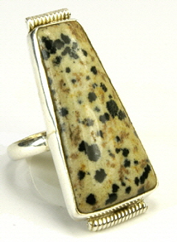 Design 9554: black,brown,white dalmatian jasper rings