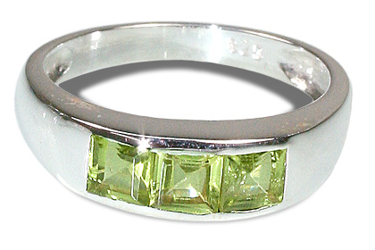 Design 9560: green peridot brides-maids rings