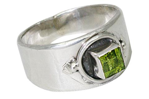 Design 9564: green peridot contemporary, mens, solitaire rings