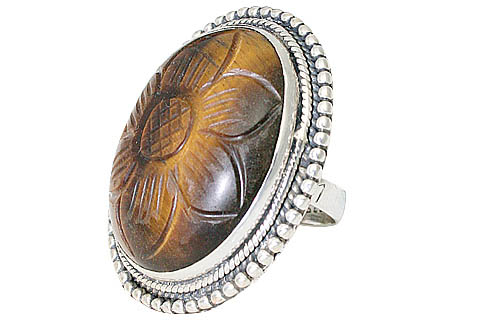 Design 9977: brown,multi-color tiger eye american-southwest rings
