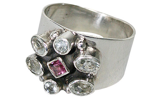Design 9987: blue,pink aquamarine flower rings