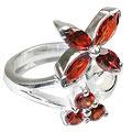 Design 12201: red garnet engagement, flower rings