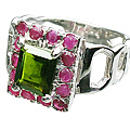 Design 12445: green,pink tourmaline rings