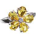 Design 12990: yellow citrine flower rings