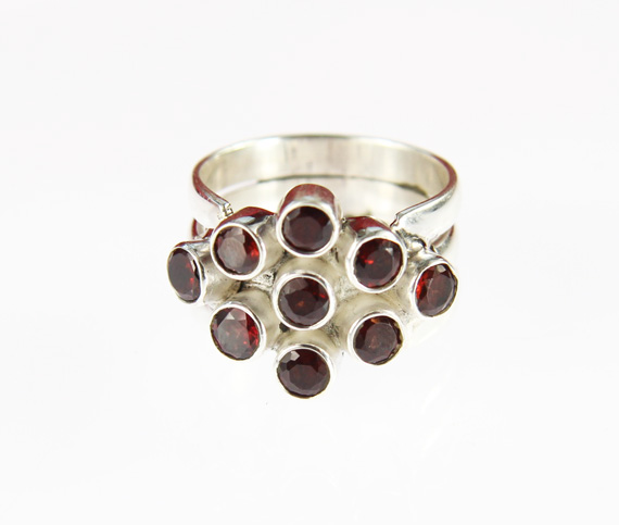 Design 14250: red garnet cocktail rings