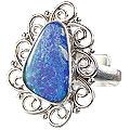 Design 15212: blue,multi-color opal flower rings