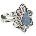 Design 15219: blue,multi-color opal flower rings