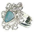 Design 15220: blue,multi-color opal flower rings