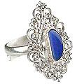 Design 15221: blue,multi-color opal flower rings
