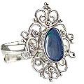 Design 15222: blue,multi-color opal flower rings