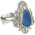 Design 15224: blue,multi-color opal flower rings