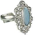 Design 15225: blue,multi-color opal flower rings