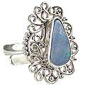 Design 15226: blue,multi-color opal flower rings