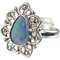 Design 15229: blue,multi-color opal flower rings