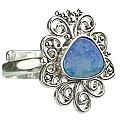 Design 15231: blue,multi-color opal flower rings