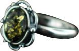 Design 15793: green amber flower rings